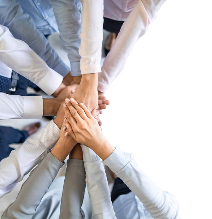 Office team with hands together