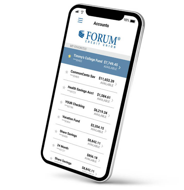 Cell phone with FORUM accounts showing