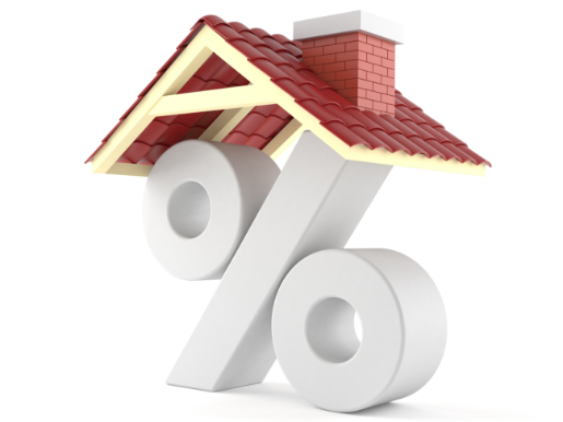 a percent sign with a roof to indicate mortgage rates