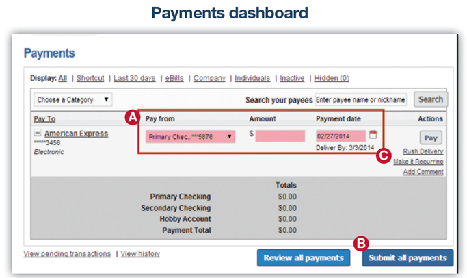 Screenshot of payments dashboard